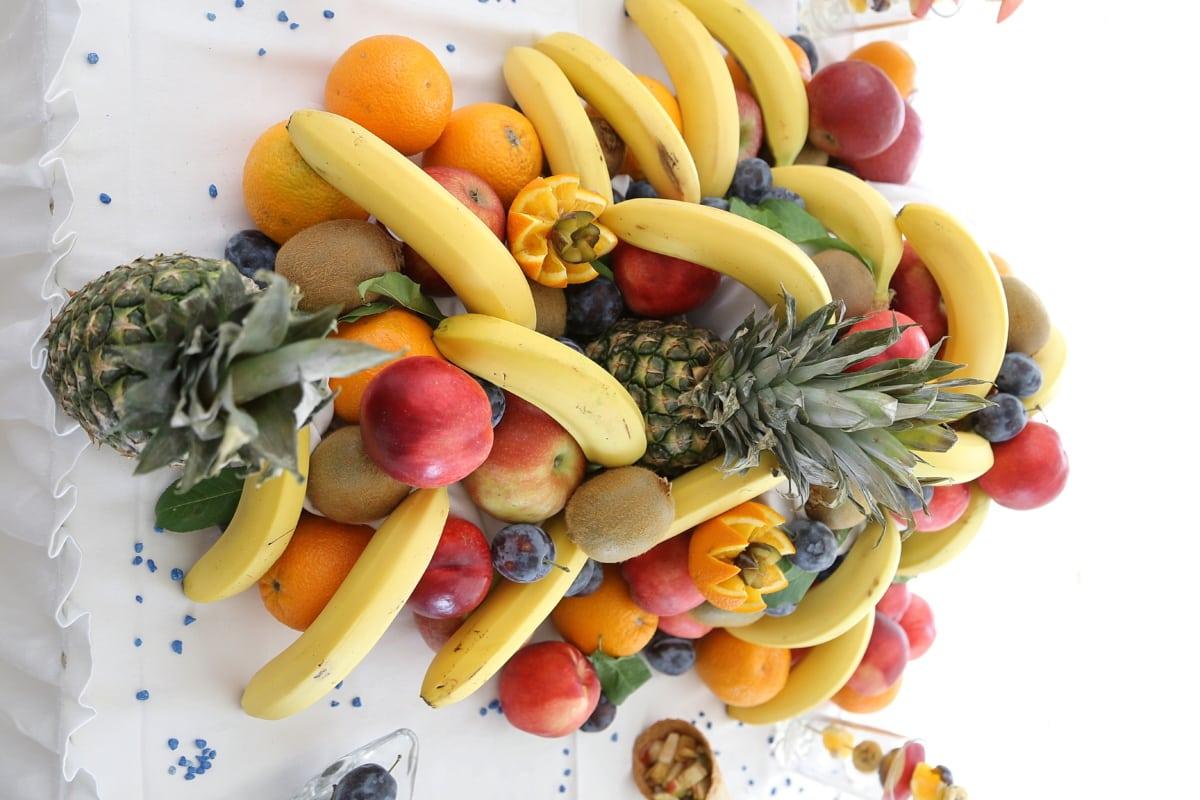 citrus, kiwi, lime, pineapple, banana, vegetarian, vegetables, fruit, produce, food