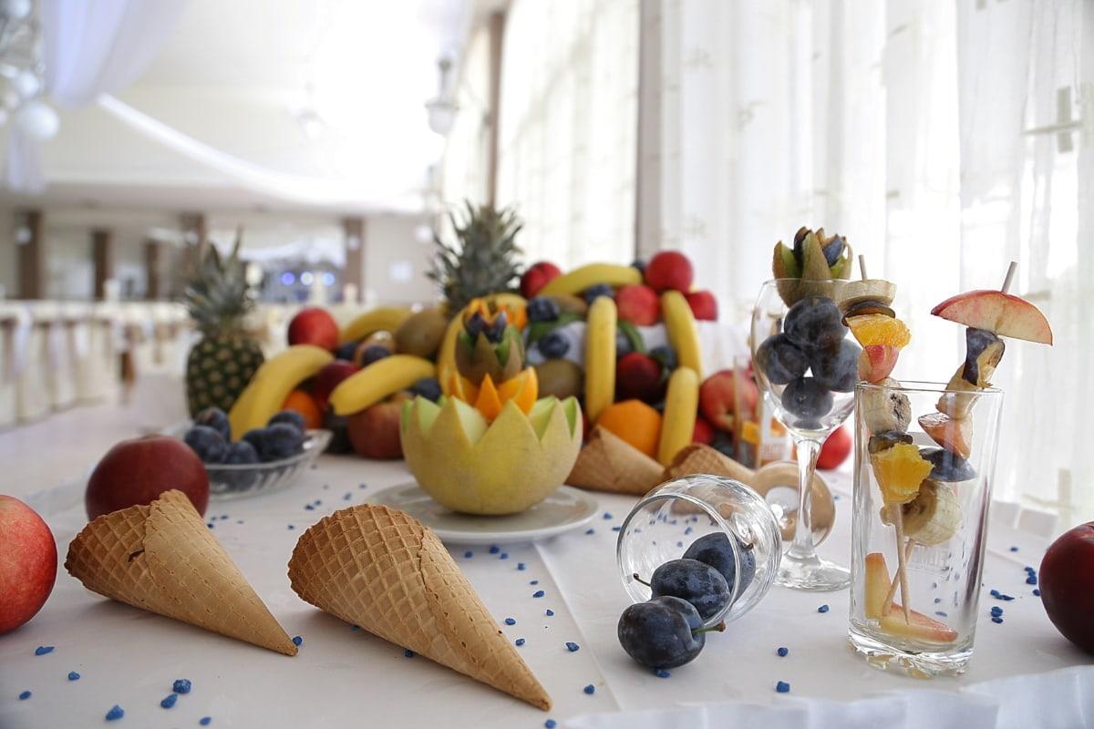tropische, Obst, Cocktails, Salat-bar, vom Buffet, Restaurant, Frühstück, Pflaume, Banane, Eis