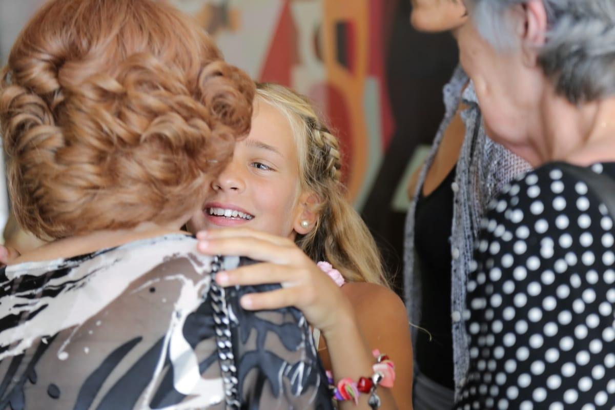 daughter, granny, hug, embrace, granddaughter, grandmother, blonde hair, pretty girl, woman, fashion