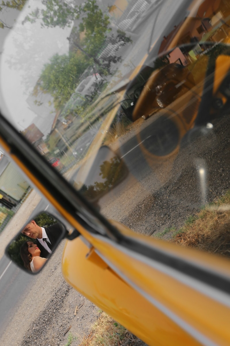 reflection, mirror, windshield, transportation, blur, vehicle, car, automobile, reflector, drive