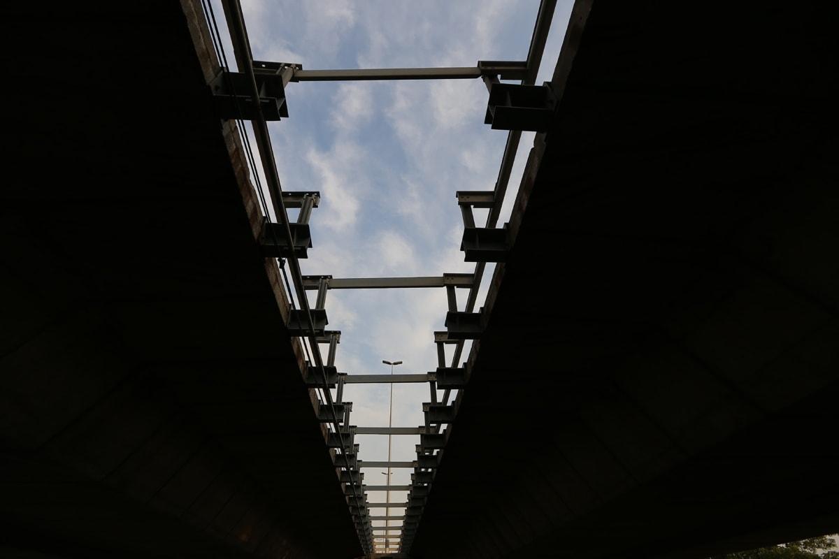 Schatten, Brücke, Dunkel, darunter, Perspektive, Architektur, Licht, Stahl, Stadt, Straße