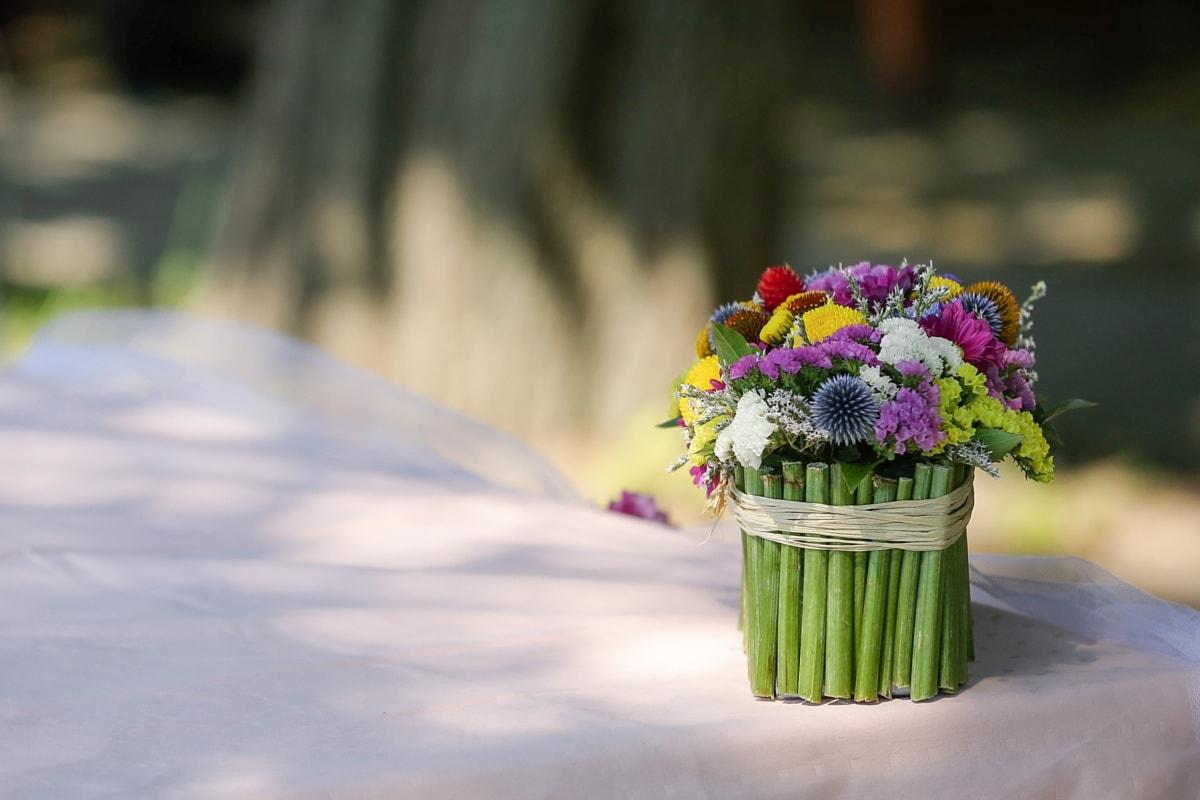 vas, buatan tangan, karangan bunga, masih hidup, bunga, Taman, di luar rumah, Cinta, musim panas, daun