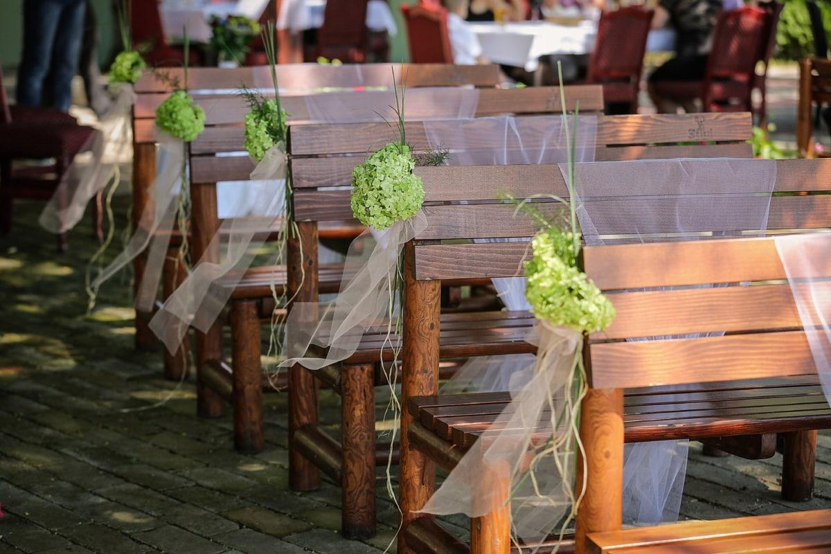 banc, meubles, mariage, chaise, table, siège, patio, jardin, fleur, restaurant