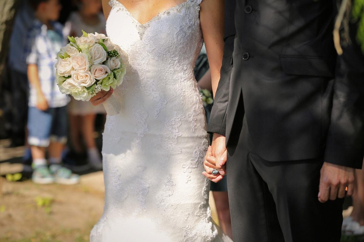 journée, mariage, bouquet de mariage, costume, robe de mariée, robe, fleurs, mariage, jeune marié, amour