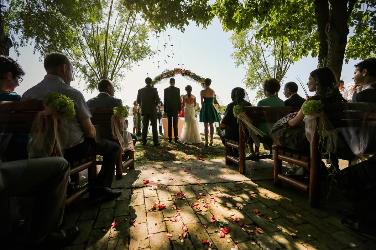 wedding venue, audience, ceremony, wedding, spectator, people, group, child, woman, man, many