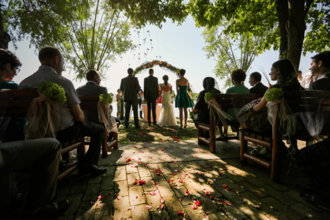 wedding venue, audience, ceremony, wedding, spectator, people, group, child, woman, man, many