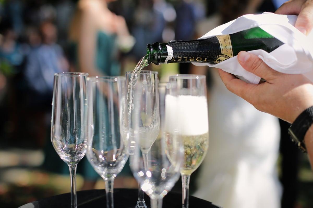 Champagne, biele víno, kryštál, sklo, fľaša, okuliare, víno, alkohol, oslava, nápoj