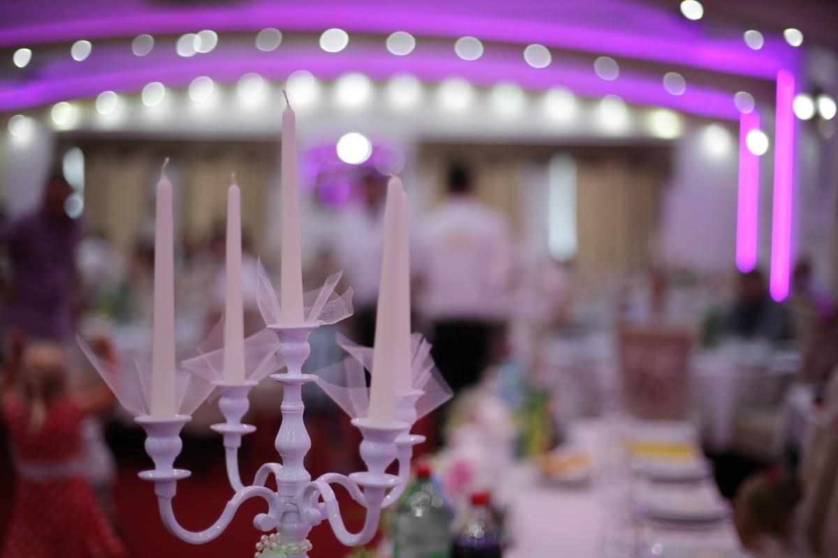 bougie, chandelier, bougies, restaurant, célébration, gâteau, parti, mariage, réception, à l'intérieur
