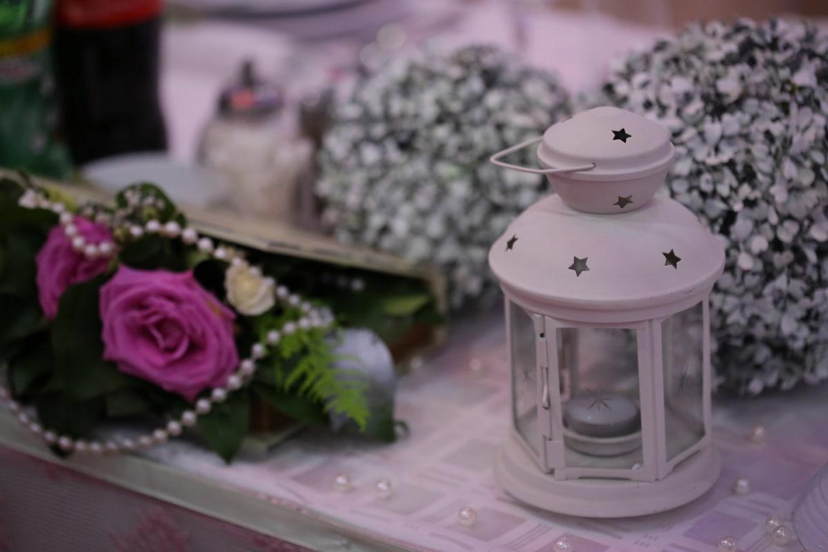 Laterne, romantische, stieg, Container, Hochzeit, Blume, Still-Leben, Dekoration, Romantik, Licht