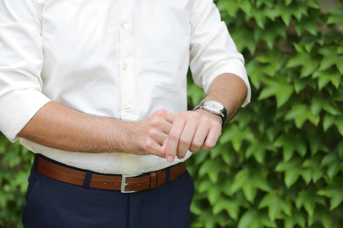 hand, wristwatch, handsome, businessman, pants, belt, man, nature, outdoors, summer