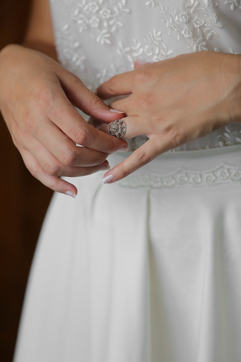 wedding dress, wedding ring, manicure, hands, wedding, woman, bride, hand, love, luxury