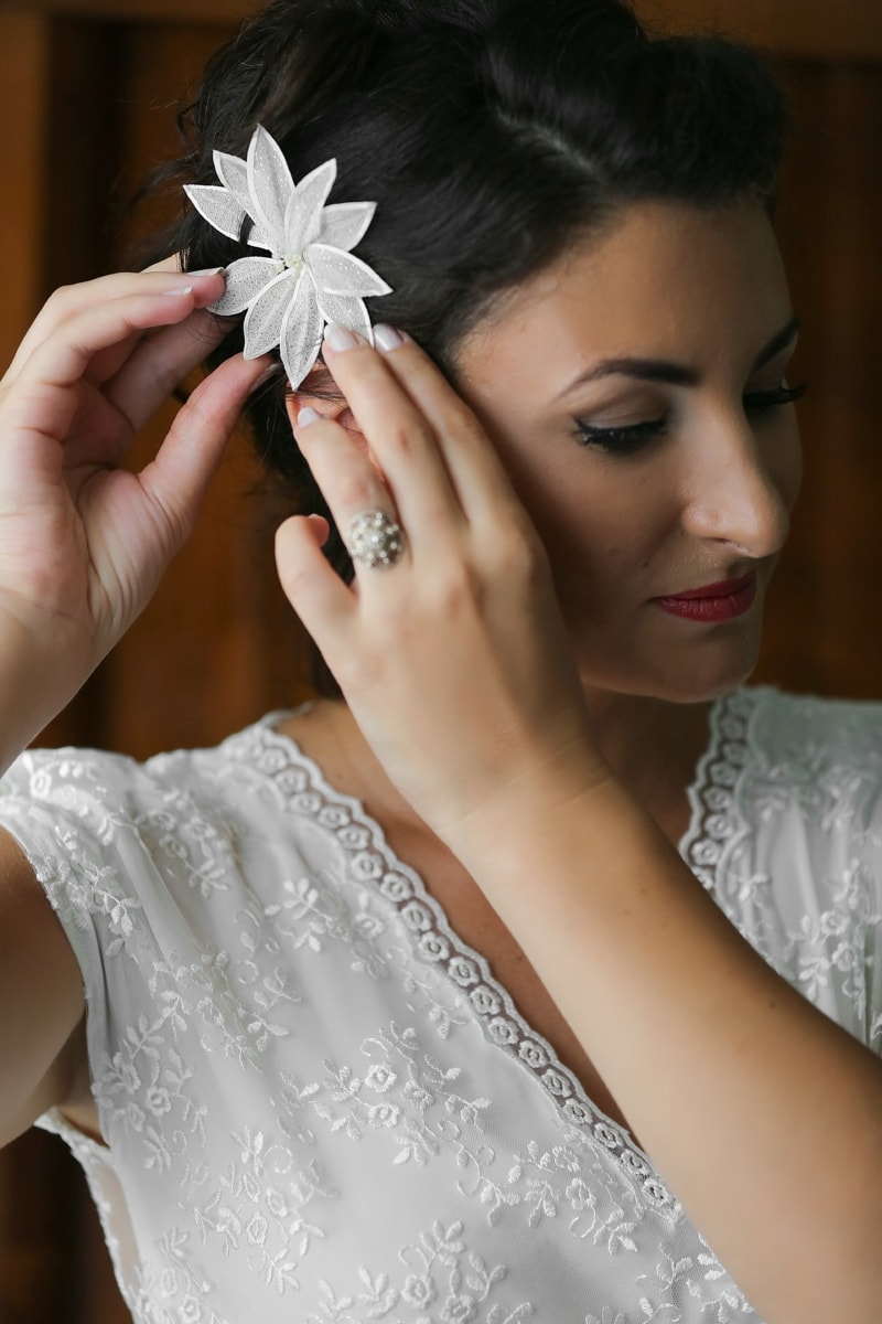 face, hairstyle, lady, lips, skin, accessory, wedding dress, hands, wedding, jewelry