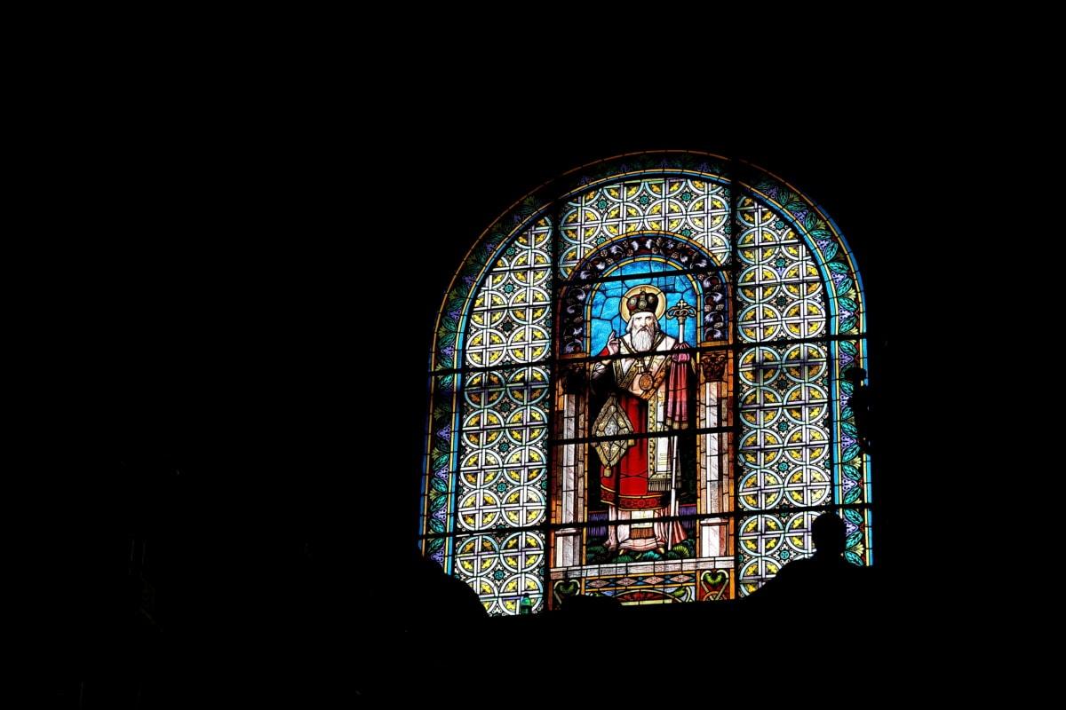 stained glass, window, darkness, architecture, art, religion, church, design, symbol, spirituality