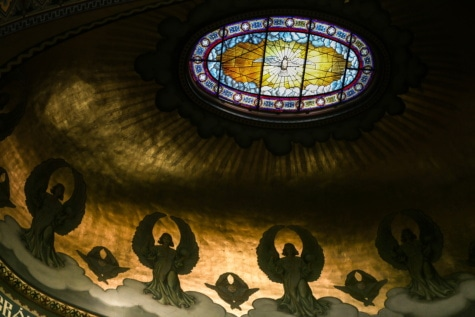 ръчно изработени, стъклопис, таван, духовност, гълъб, религия, архитектура, църква, рамка, Прозорец