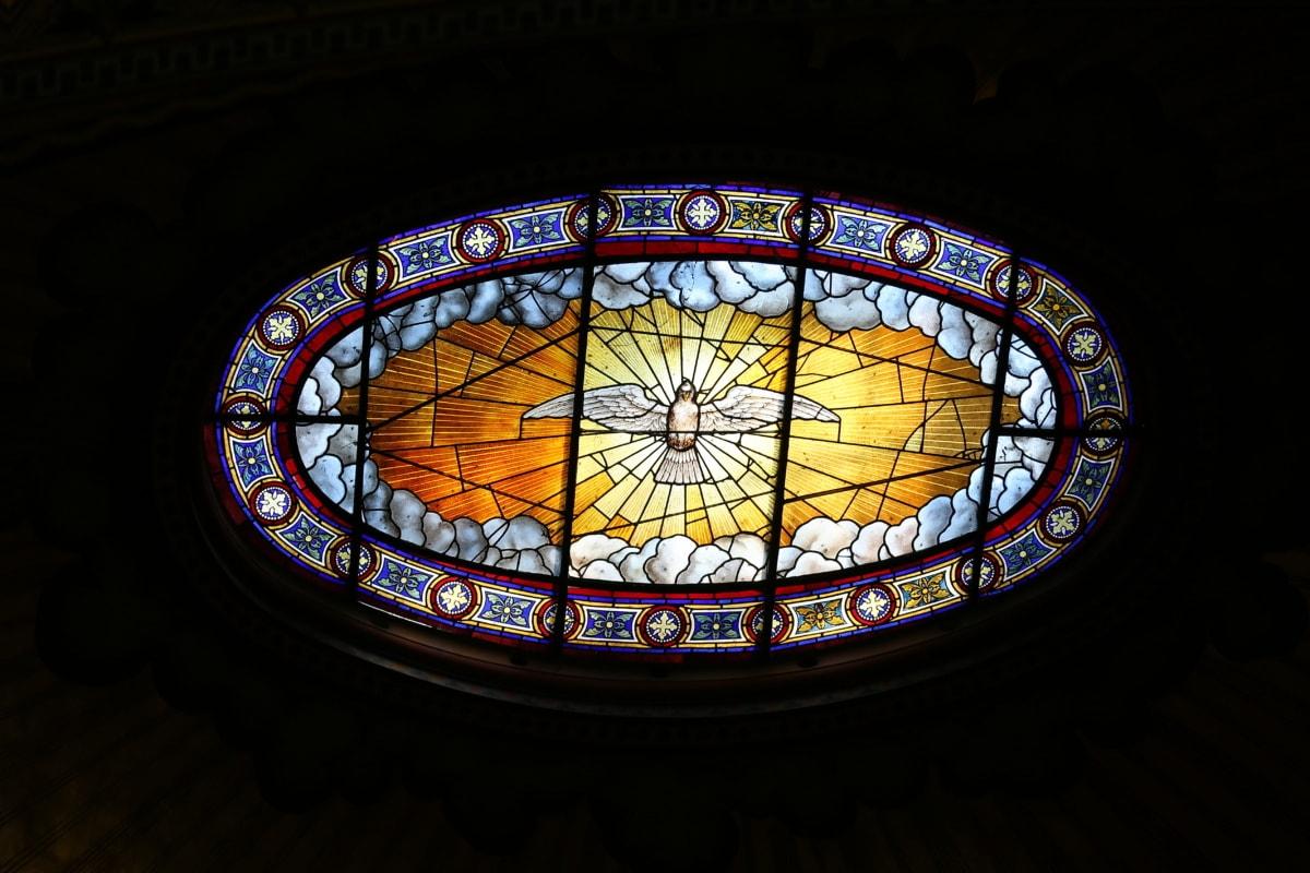 lumière, verre souillé, au plafond, fenêtre, cadre, vieux, antique, objet, art, artiste