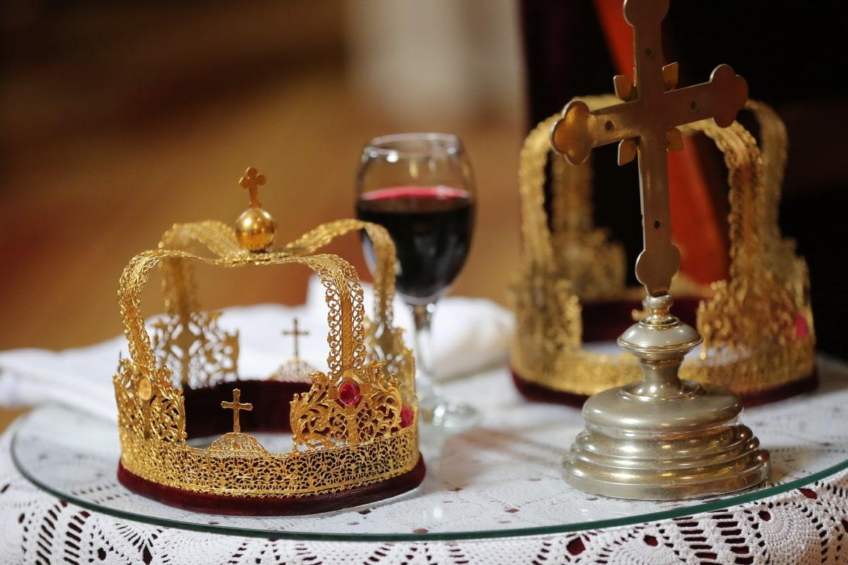 Kreuz, goldener Schein, Krone, Krönung, Rotwein, Kerze, Religion, Interieur-design, Wein, Luxus
