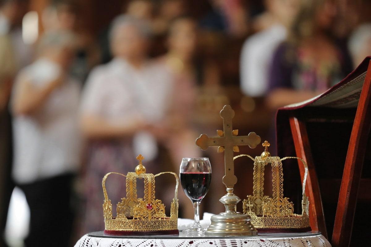 ceremony, coronation, crown, baptism, gold, orthodox, glass, celebration, decoration, wine