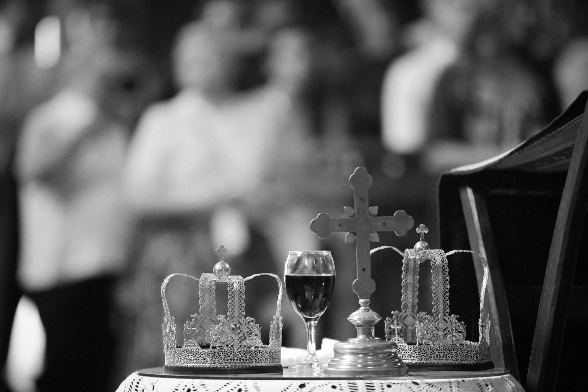 Rotwein, religiöse, Krone, Krönung, geistigkeit, Kreuz, Monochrom, Hochzeit, Tasse, Kirche
