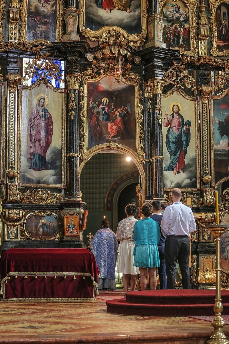 Kirche, Serbien, Hochzeit, Braut, Bräutigam, Kathedrale, Menschen, religiöse, Stuhl, Architektur