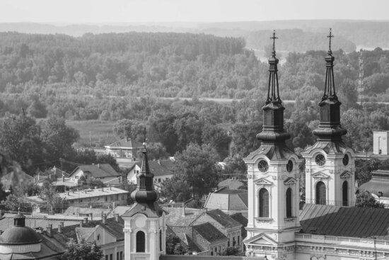 Sremski Karlovci, Serbia, church tower, downtown, building, residence, monastery, church, house, roof, architecture