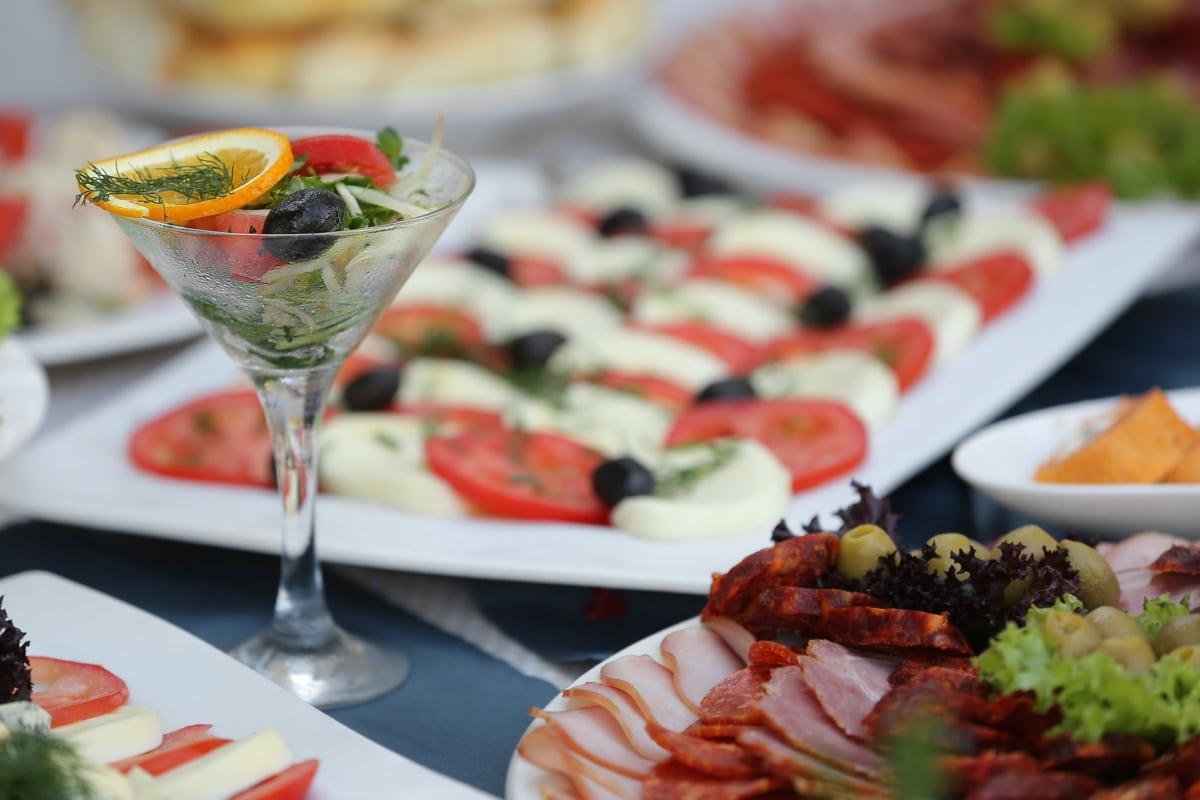 σαλάτες, μπουφές, σνακ, κοκτέιλ, νόστιμα, τυρί, δείπνο, μεσημεριανό γεύμα, τροφίμων, διατροφή
