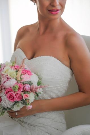 mladenka, vjenčanica, elegancija, svadbeni buket, rame, usne, foto model, vrat, žena, buket