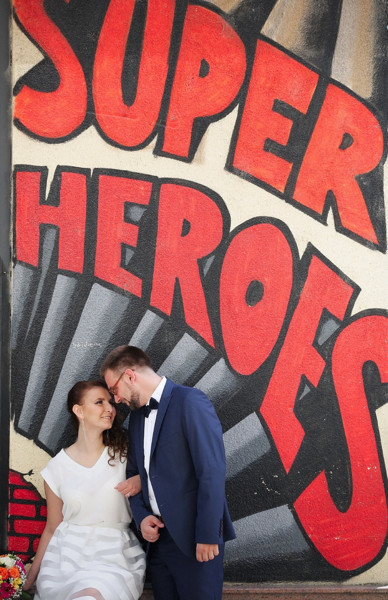 super heroes, gentleman, bride, groom, graffiti, people, man, love, woman, sign