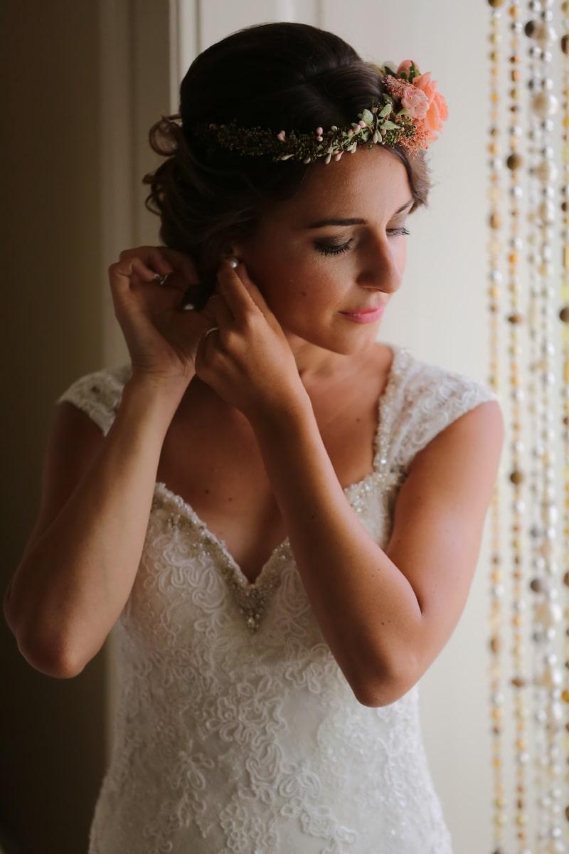 Braut, Ohrringe, Hochzeitskleid, Frisur, Glanz, hübsches mädchen, Mode, herrlich, Knochen, Frau