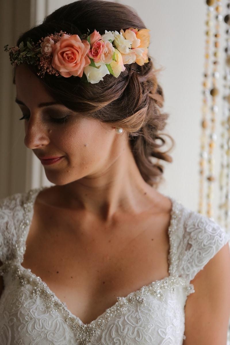 růže, účes, vlasy, make-upu, péče o kůži, portrét, nevěsta, mladá žena, nevinnost, svatba