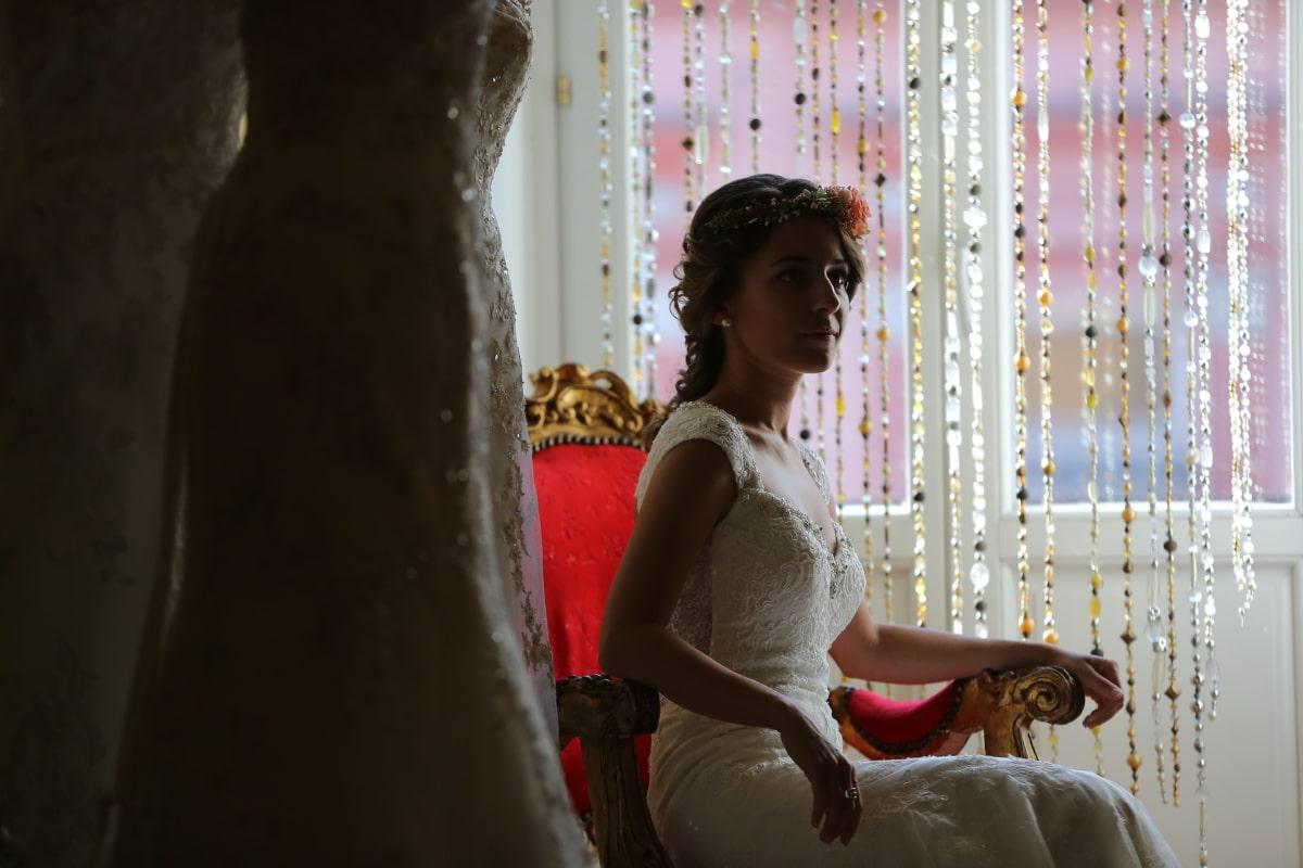 Hochzeitskleid, Shop, Wohnzimmer, Braut, Barock, Eleganz, Modell, Mode, attraktiv, Person