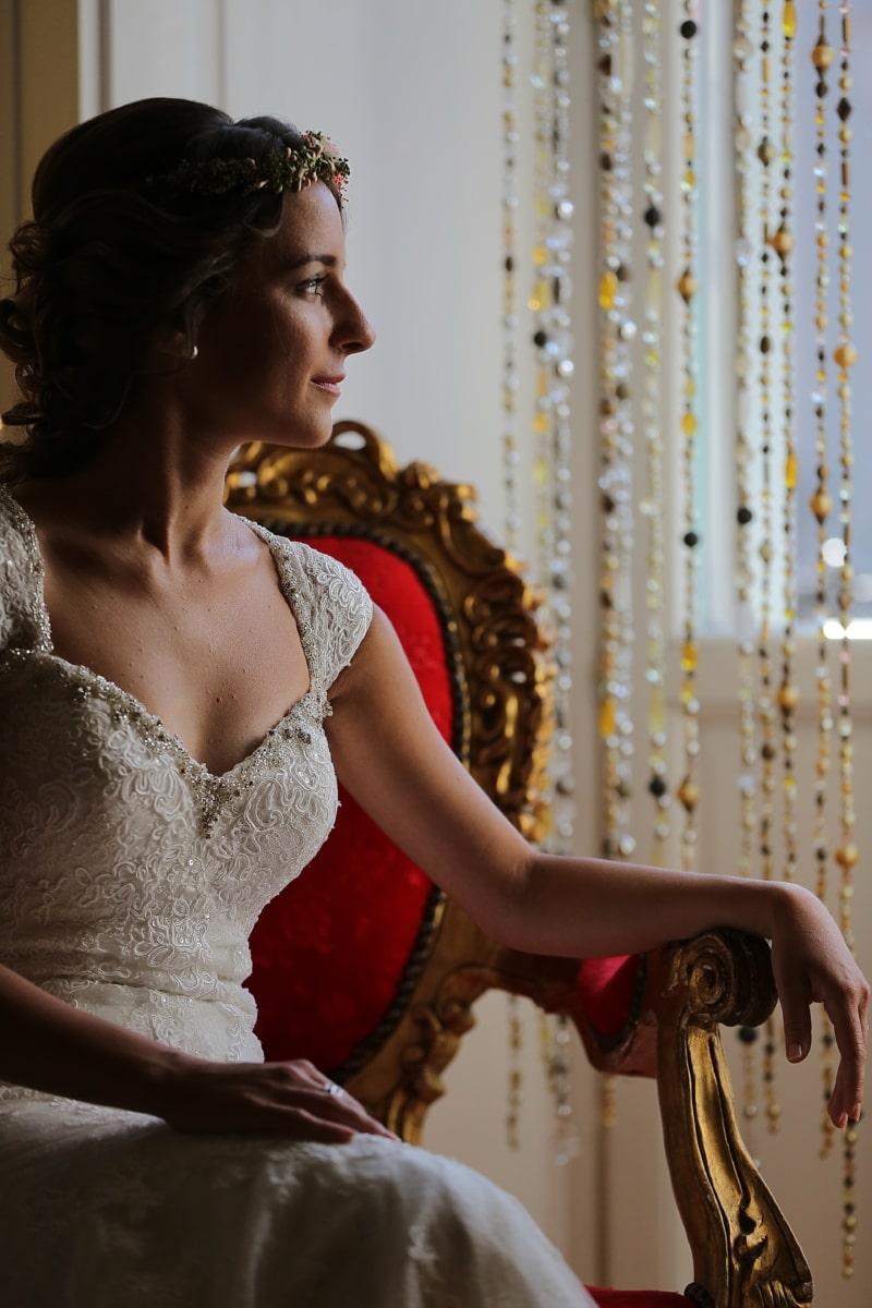 esküvő, fotózás, Szalon, menyasszony, esküvői ruha, butik, divat, személy, modell, barna