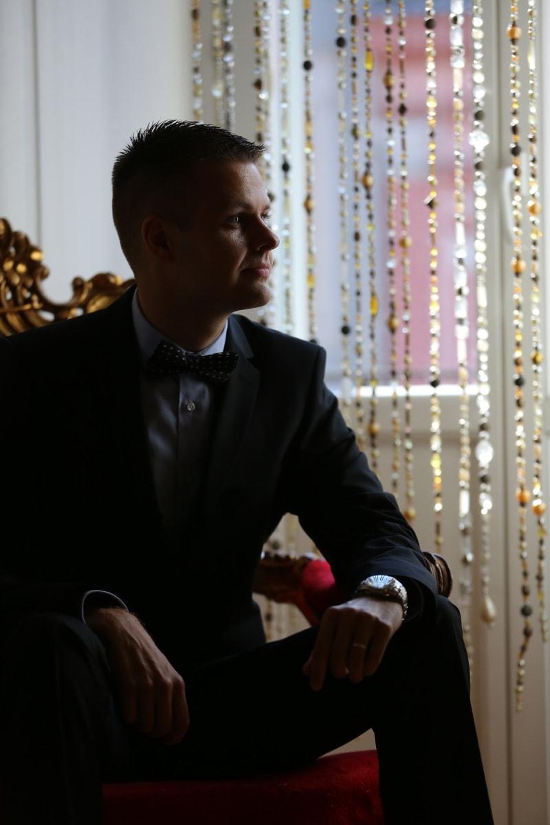dżentelmen, muszka, biznesmen, garnitur, portret, Profesjonalne, biznes, ludzie, mężczyzna, pomieszczeniu