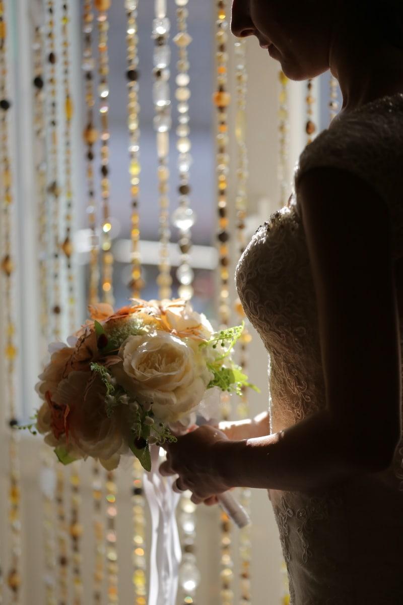 silhouette, la mariée, bouquet de mariage, robe de mariée, amour, mariage, mariage, bouquet, fleurs, femme
