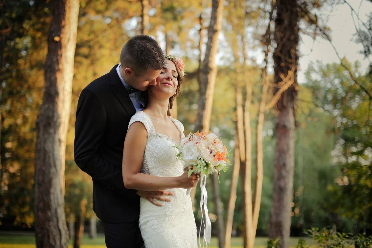поцелуй, шея, любовь, жених, невеста, Свадьба, женат, счастье, букет, пара