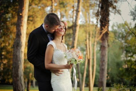 Cium, leher, Cinta, pengantin pria, Pengantin, pernikahan, menikah, kebahagiaan, karangan bunga, beberapa