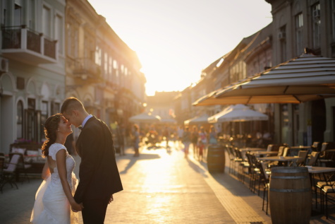 bride, urban area, sunset, groom, street, kiss, hugging, embrace, love, building