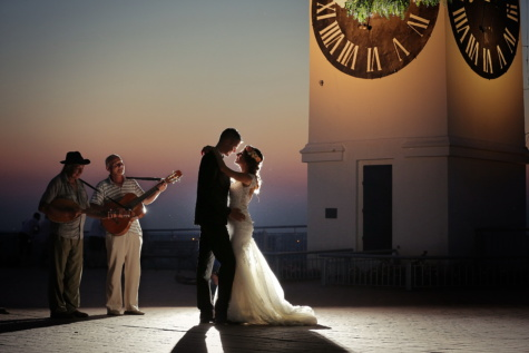 bride, groom, dance, music, guitarist, night, people, sunset, performer, dancer