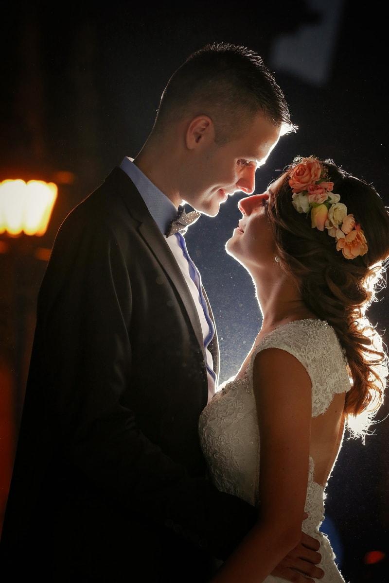 groom, bride, love, kiss, gentleman, suit, bowtie, couple, person, man
