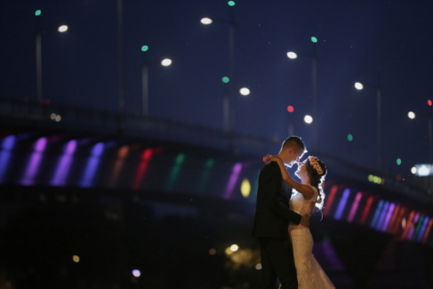 hug, spotlight, kiss, groom, bride, night, bridge, silhouette, light, people