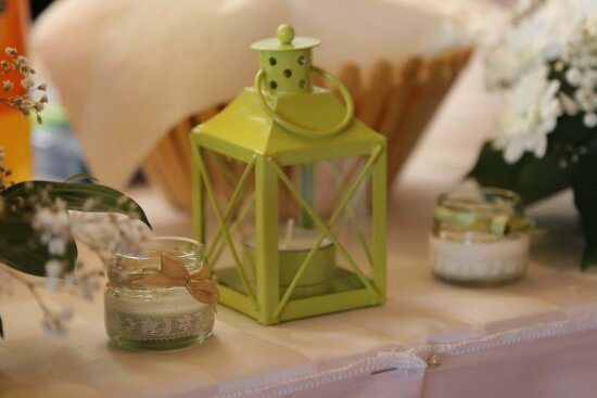 candle, candlestick, decorative, lantern, table, tablecloth, indoors, wedding, still life, flower