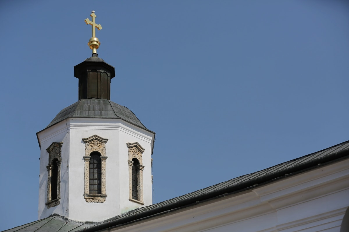 gold, church tower, cross, monastery, religion, roof, church, architecture, building, dome