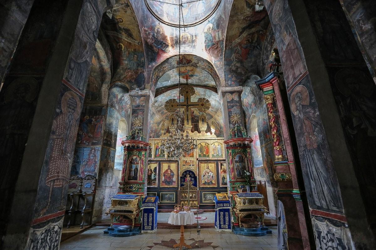mittelalterliche, Russisch, orthodoxe, Kirche, Christentum, Altar, Kapelle, Symbol, Kloster, Innenraum