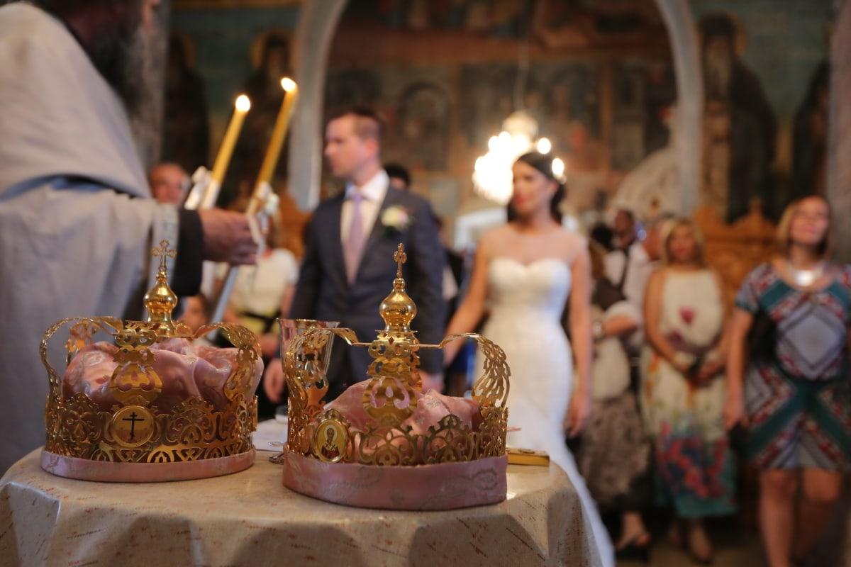 orthodoxe, Hochzeit, Zeremonie, Krönung, Kerze, Leuchter, Krone, Kerzen, Menschen, Religion