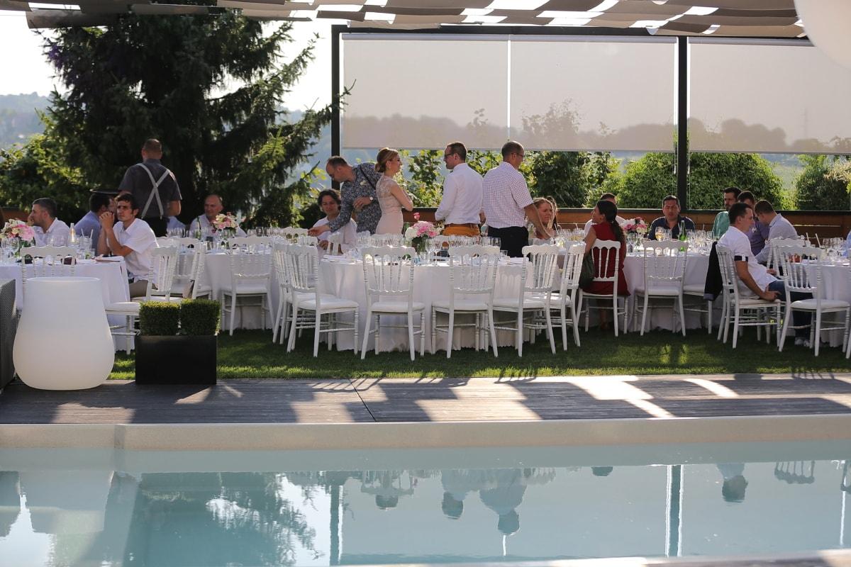 Partei, Schwimmbad, Zeremonie, Barmann, Besprechung, Tabelle, Speise-, Terrasse, Struktur, Restaurant