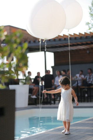 playful, childhood, balloon, girl, child, party, restaurant, swimming pool, people, street