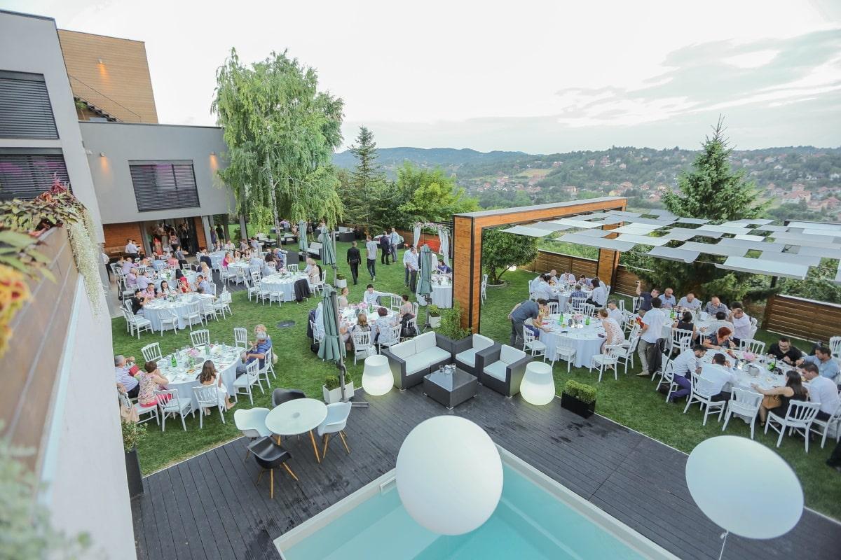 hotel, resort area, villa, swimming pool, area, structure, patio, chair, table, restaurant