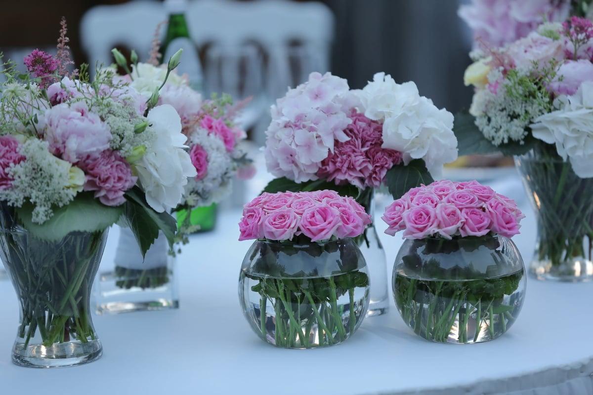 nature morte, vase, des roses, élégant, table, réception, décoration, Rose, fleur, arrangement
