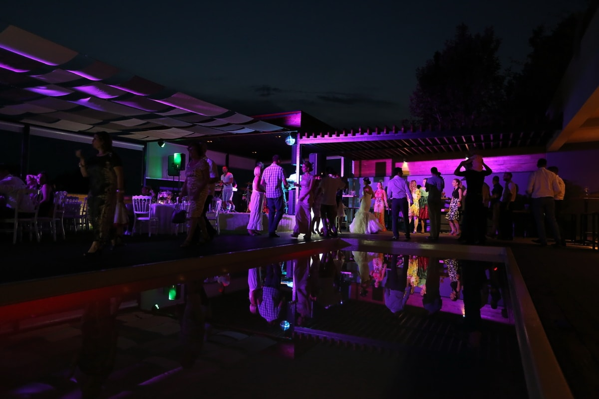 춤, 나이트 클럽, 밤문화, 사람들, 활기, 수영장, 빛, 콘서트, 음악, 성능