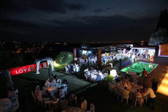 party, nighttime, nightlife, hotel, ceremony, panorama, night, people, city, festival