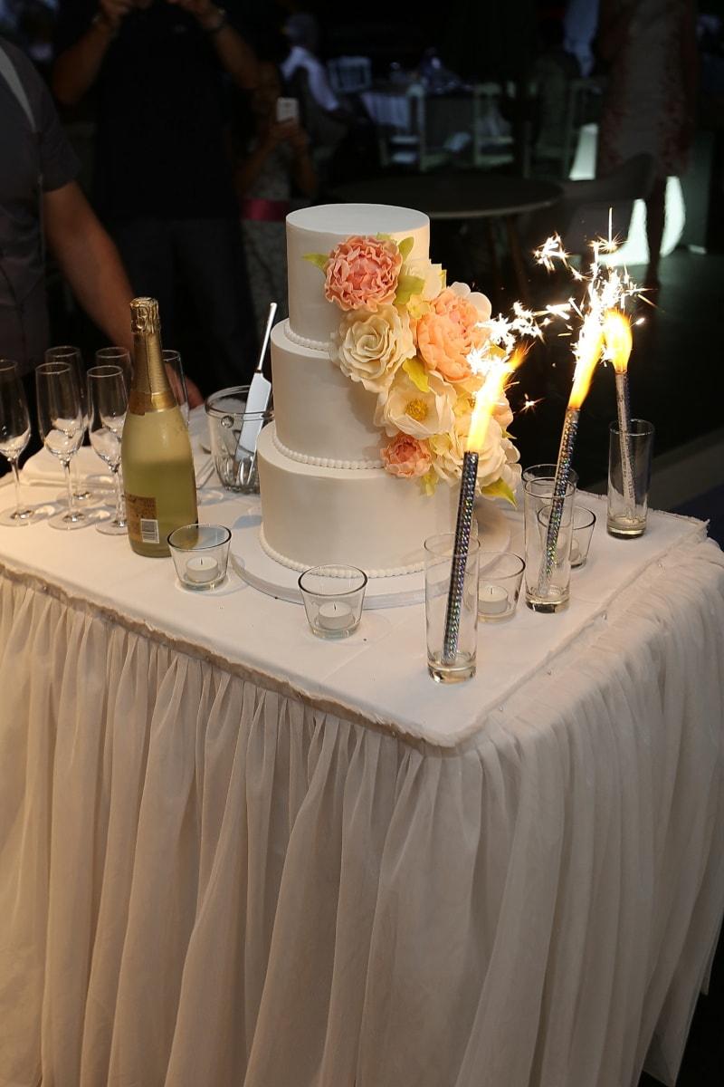 Partei, Kuchen, Champagner, Zeremonie, Feier, Tabelle, Möbel, Hochzeit, Kerze, Wein